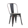 Buschman Set of Four Distressed Black Dining Room Industrial Metal Stackable Chairs With Back and Wooden Seat