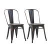 Buschman Set of Two Distressed Black Dining Room Industrial Metal Stackable Chairs With Back and Wooden Seat
