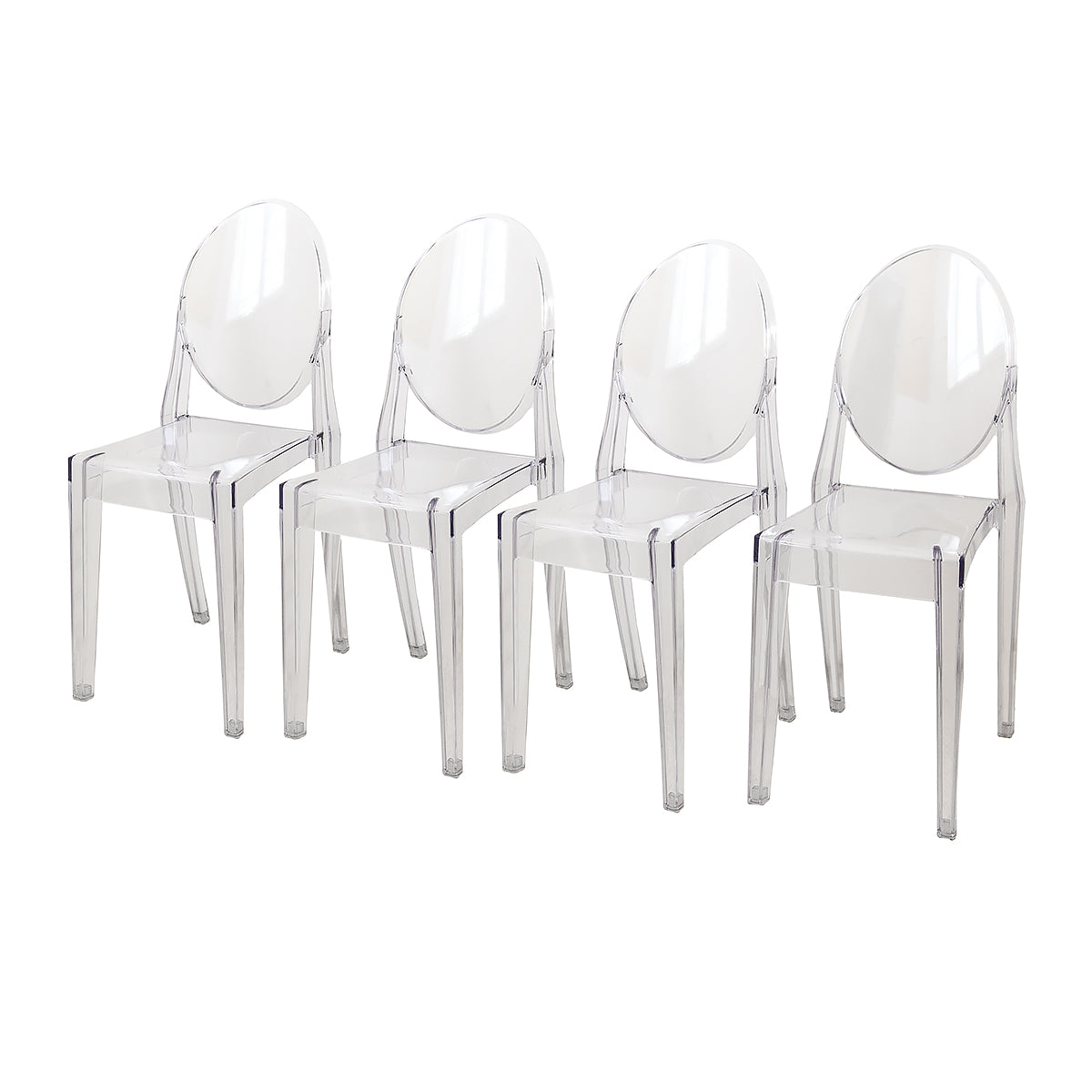 Set of Four Transparent Contemporary Modern Dining Room Chairs, Lounge Chairs
