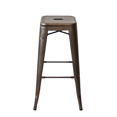 "Buschman Set of Four Bronze 30"" Industrial Metal Stackable Backless Barstools"