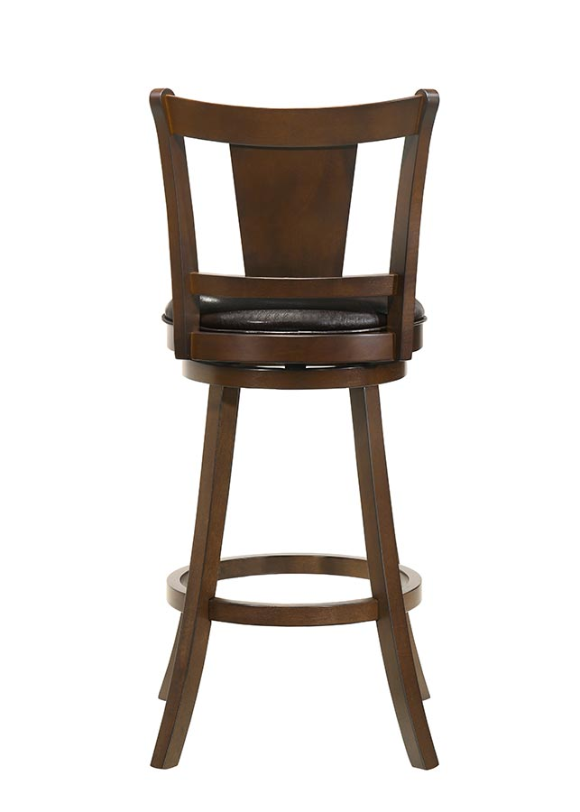 Buschman Set of Two Swivel 30 Inch Bar Height Bar Stools, Wood 1-Slat Back, PU Leather Seat, Dark Brown