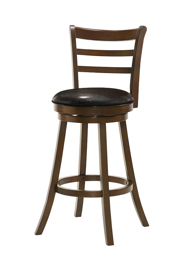 Buschman Set of Two Swivel 30 Inch Bar Height Bar Stools, Wood 3-Slat Back, PU Leather Seat, Dark Brown