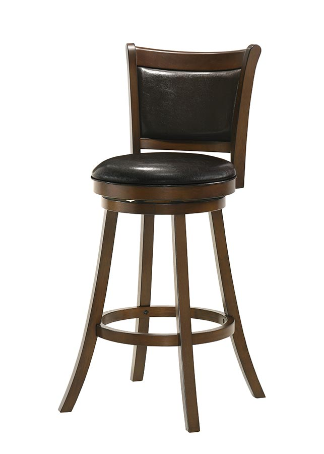 Buschman Set of Two Swivel 30 Inch Bar Height Bar Stools, PU Leather Back, PU Leather Seat, Dark Brown