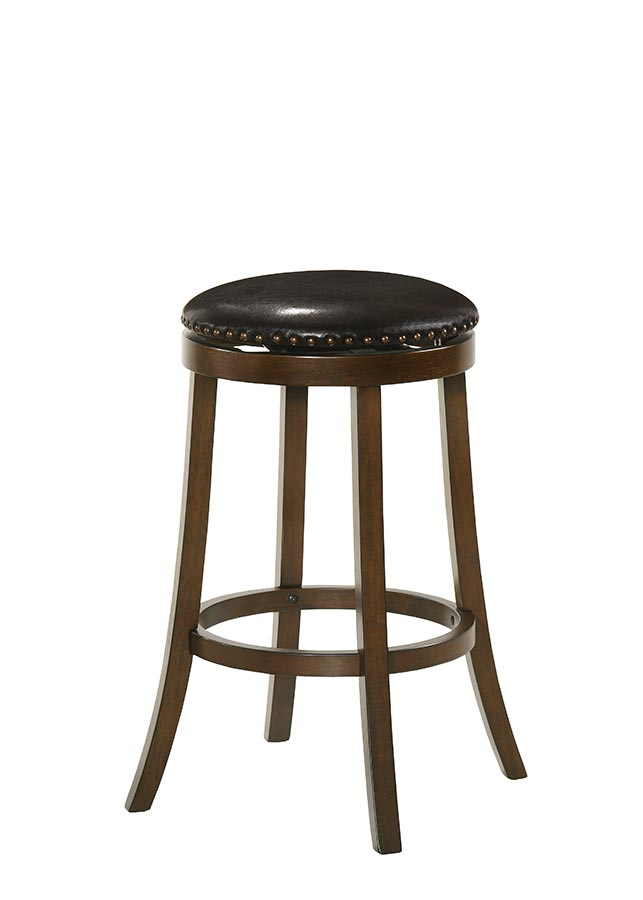 Buschman Set of Two Swivel 30 Inch Bar Height Bar Stools, PU Leather Seat, Dark Brown, Backless