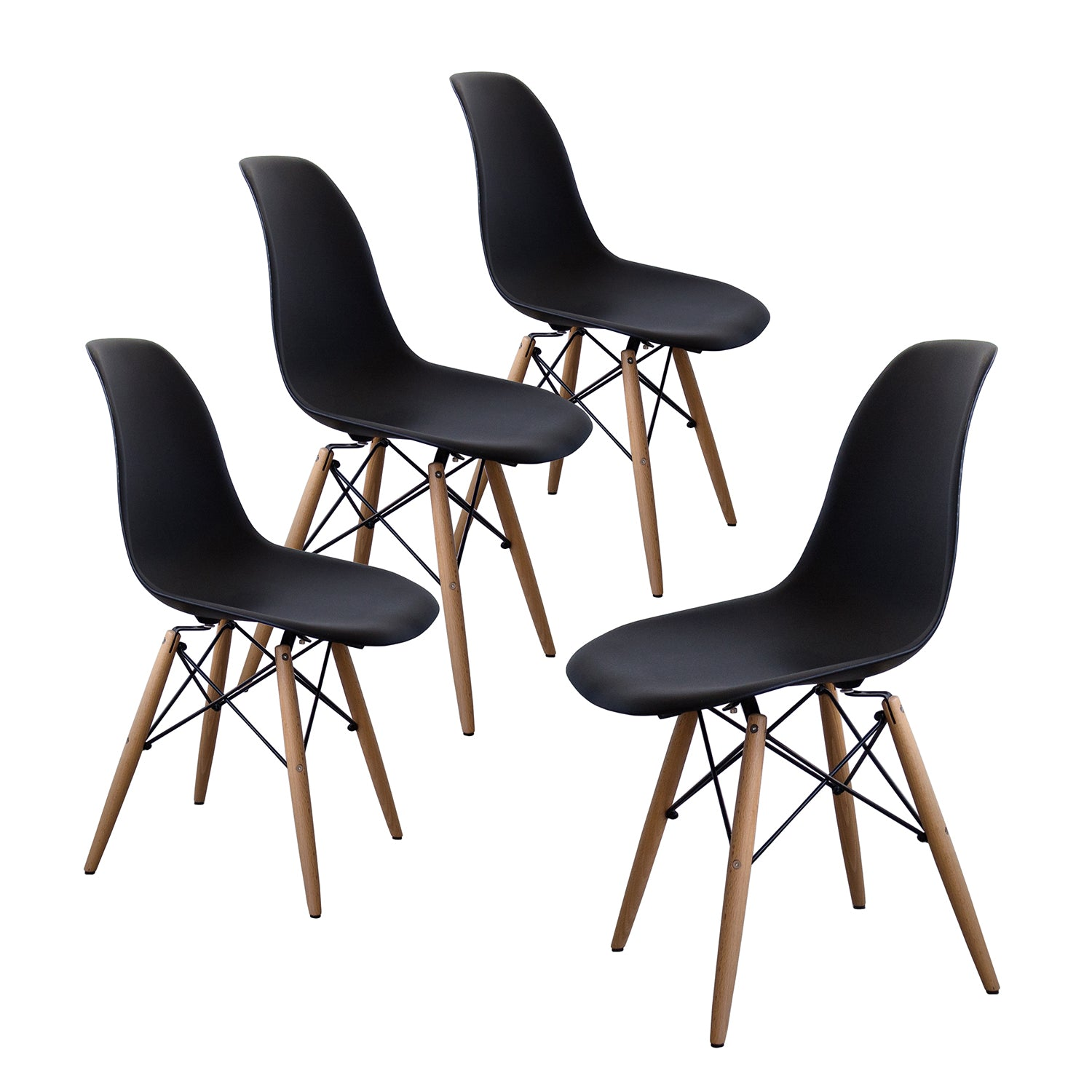 Buschman Set of 4 Black Chairs, Mid Century Modern Dining Chairs
