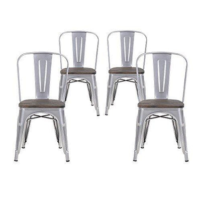 Buschman Set of Four Dining Room Industrial Metal Stackable Chairs With Back and Wooden Seat