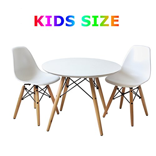 Buschman Set of Kids' Mid Century Modern Wooden Round Table and Two Plastic Armless Chairs