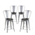 Buschman Set of 4 Grey Wooden Seat 24 Inch Counter Height Metal Bar Stools with High Back, Indoor/Outdoor