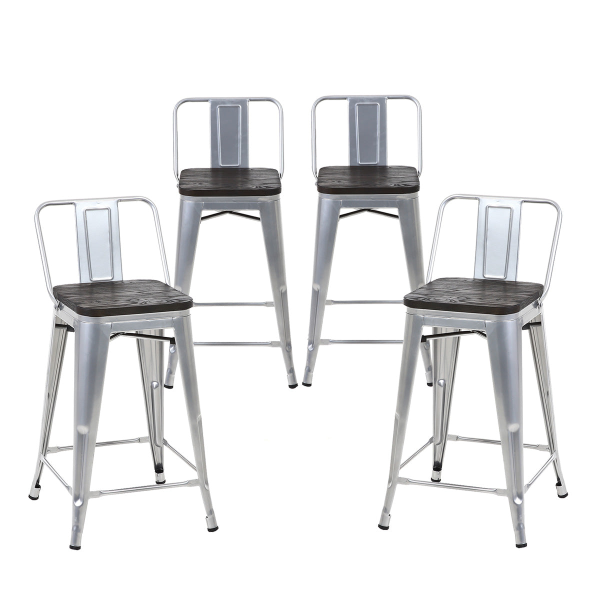 Miraculous Buschman Set Of 4 Grey Wooden Seat 24 Inch Counter Height Metal Bar Stools With Medium Back Indoor Outdoor Ibusinesslaw Wood Chair Design Ideas Ibusinesslaworg