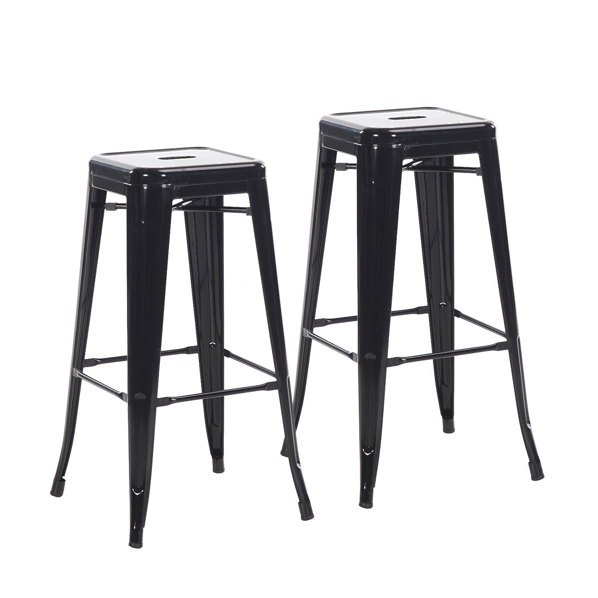 Buschman Set Of 2 Black 30 Inch Bar Height Metal Bar Stools Indoor