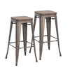 30 Inch Bronze Metal Bar Stools with Wooden Top (Set of 2)