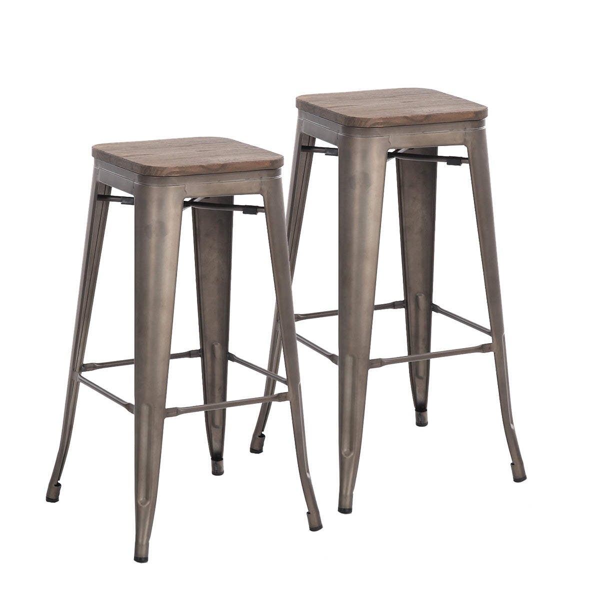 Remarkable 30 Inch Bronze Metal Bar Stools With Wooden Top Set Of 2 Theyellowbook Wood Chair Design Ideas Theyellowbookinfo