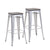 Buschman Set of 2 Gray Wooden Seat 30 Inch Bar Height Metal Bar Stools, Indoor/Outdoor, Stackable