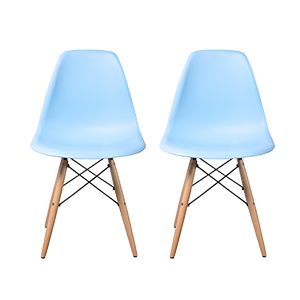 Buschman Set of 2 Blue Chairs, Mid Century Modern Dining Chairs