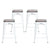 Buschman Set of 4 Matte White Wooden Seat 26 Inch Counter Height Metal Bar Stools, Indoor/Outdoor