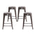 Buschman Set of 4 Gun Metal 24 Inch Counter Height Metal Bar Stools, Indoor/Outdoor Stackable