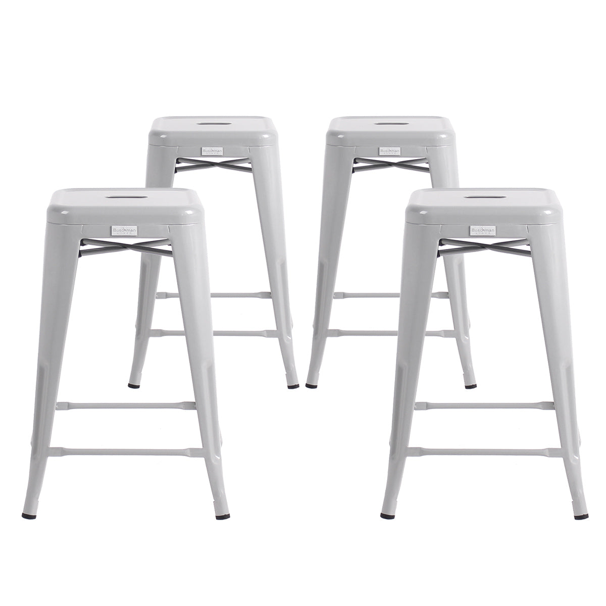 "Buschman Metal Bar Stools 24"" Counter Height, Indoor/Outdoor and Stackable, Set of 4 (Regular Grey)"