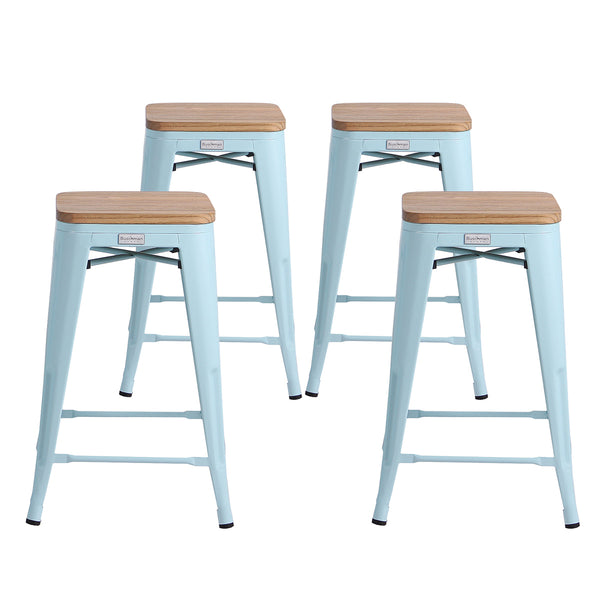 Terrific Buschman Metal Bar Stools 24 Counter Height Indoor Outdoor And Stackable Set Of 4 Light Blue With Light Wooden Seat Customarchery Wood Chair Design Ideas Customarcherynet
