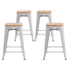 "Buschman Metal Bar Stools 24"" Counter Height, Indoor/Outdoor and Stackable, Set of 4 (Regular Grey with Light Wooden Seat)"