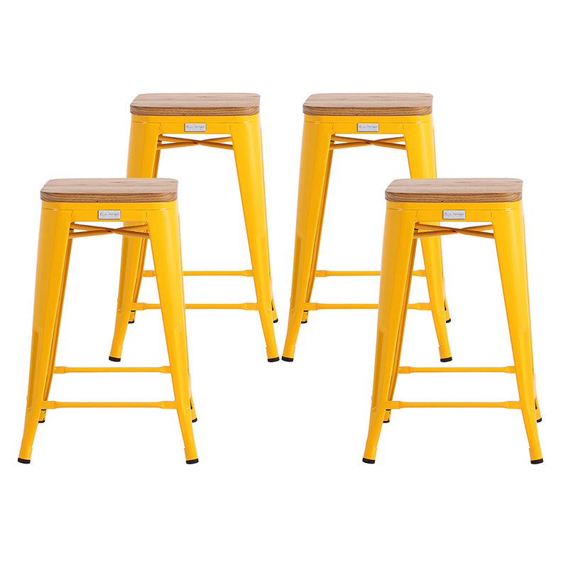 "Buschman Metal Bar Stools 24"" Counter Height, Indoor/Outdoor and Stackable, Set of 4 (Yellow with Light Wooden Seat)"