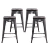 "Buschman Metal Bar Stools 24"" Counter Height, Indoor/Outdoor and Stackable, Set of 4 (Dark Grey with Premium Wooden Seat)"