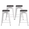 "Buschman Metal Bar Stools 24"" Counter Height, Indoor/Outdoor and Stackable, Set of 4 (Matte White with Premium Wooden Seat)"