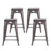 "Buschman Metal Bar Stools 24"" Counter Height, Indoor/Outdoor and Stackable, Set of 4 (Gun Metal with Wooden Seat)"