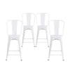 Buschman Set of 4 White 24 Inch Counter Height Metal Bar Stools with High Back, Indoor/Outdoor