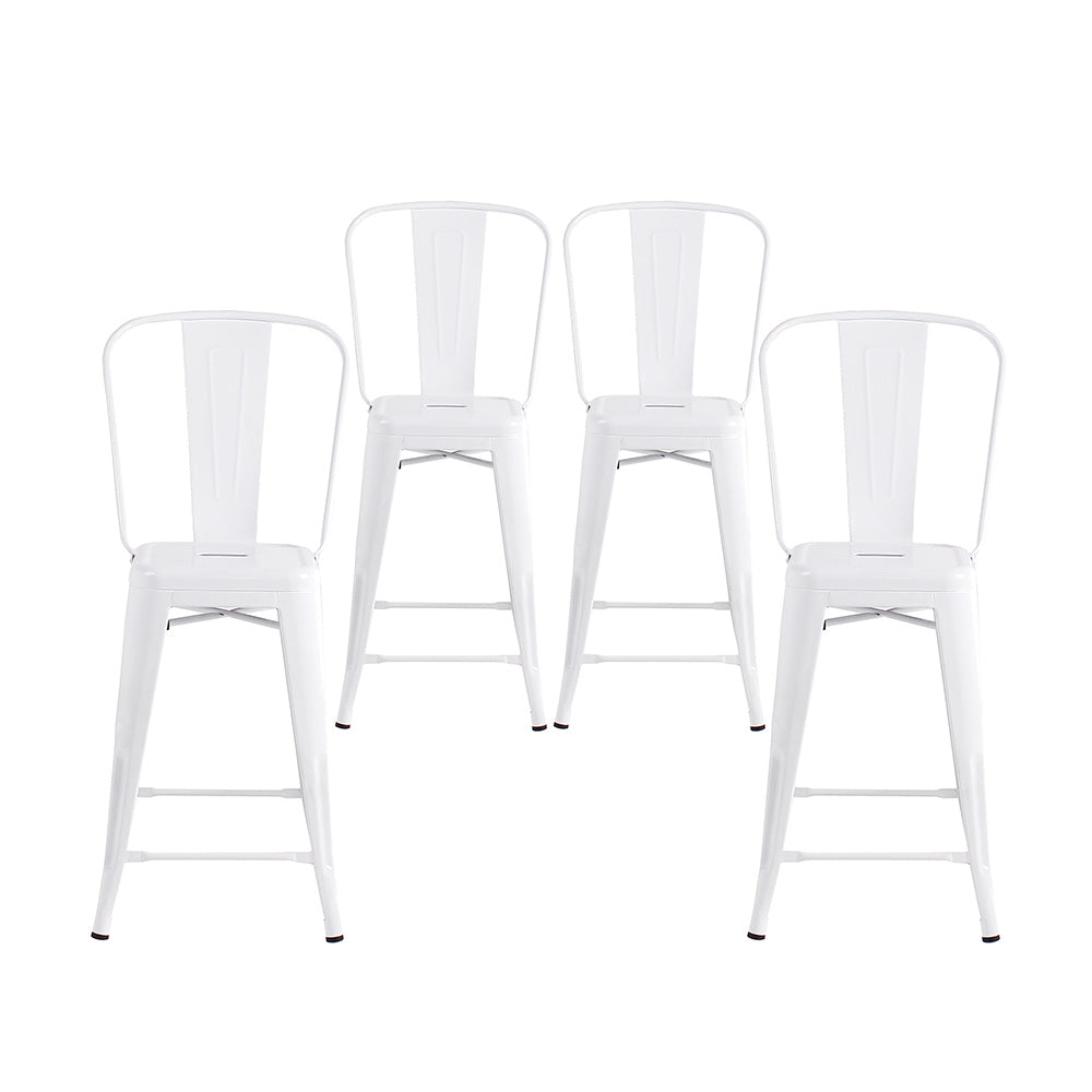 Enjoyable Buschman Set Of 4 White 24 Inch Counter Height Metal Bar Stools With High Back Indoor Outdoor Machost Co Dining Chair Design Ideas Machostcouk