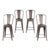 Buschman Set of 4 Bronze 24 Inch Counter Height Metal Bar Stools with High Back, Indoor/Outdoor