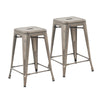 Buschman Set of 2 Bronze 24 Inch Counter Height Metal Bar Stools, Indoor/Outdoor, Stackable