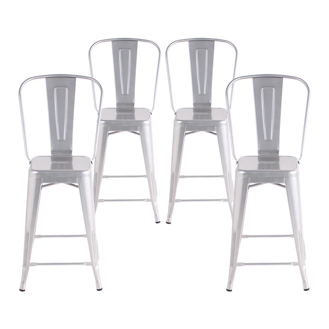Buschman Set of 4 Grey 24 Inch Counter Height Metal Bar Stools with High Back, Indoor/Outdoor