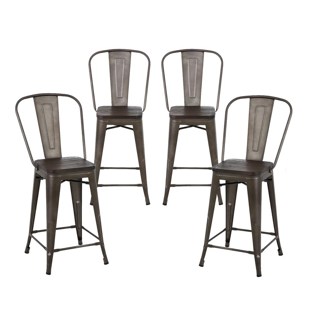 Super 24 Inch Bronze Metal Counter Stools With Wooden Seat High Back Set Of 4 Caraccident5 Cool Chair Designs And Ideas Caraccident5Info