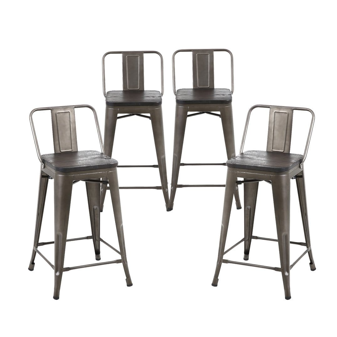 24 Inch Metal Counter Stools With Wooden Seat Medium Back Set Of