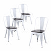 Buschman Set of Four White Dining Room Industrial Metal Stackable Chairs With Back and Wooden Seat