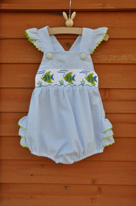 Smocked Summer Fish Ruffle Bubble