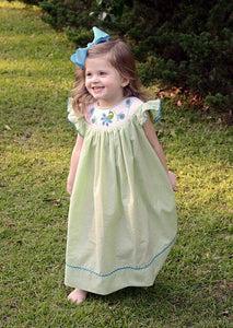 Pretty Peacock Smocked Dress