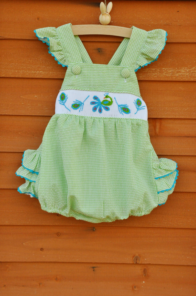 Pretty Peacock Smocked Ruffle Bubble