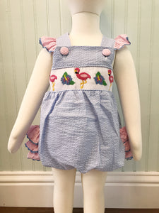 Smocked Flamingo Ruffle Bubble