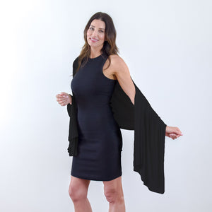 Travel Wrap and Blanket in Jet Black - HappyLuxe