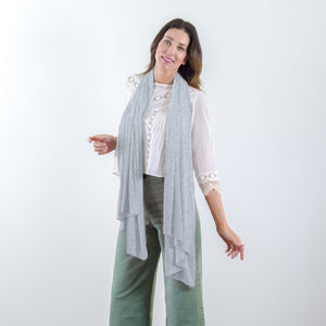 The Wayfarer Travel Wrap and Blanket in Eco-Cashmere -  Heather Gray - HappyLuxe