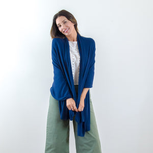 The Wayfarer Travel Wrap and Blanket in Eco-Cashmere - Navy Blue - HappyLuxe
