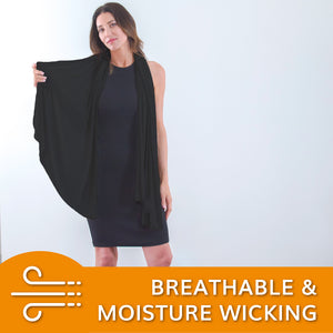 The Travel Wrap and Scarf for Women, Travel Blanket, UPF 50+ Protection (Jet Black) - HappyLuxe