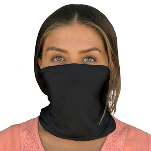 The Alpine Face Mask, Neck Gaiter, Breathable Mask, UPF 50+ (Jet Black) - HappyLuxe