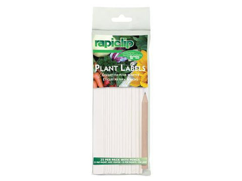 "Luster Leaf Plant Labels Stakes 6"" White 25/pack w/Pencil"