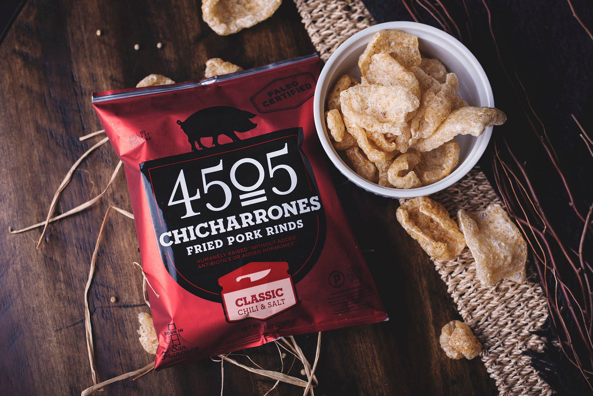 <a href='https://4505meats.com/index.php/meat.html/' target='_blank'><b>4505 Meats Classic Chicharrones -</b></a><br> These kettle-cooked pork skins are sourced from a collective of small family farms. A savory snack that can serve as a spicy topping or as the perfect sidekick to beer, cocktails or sparkling libations of all kinds.