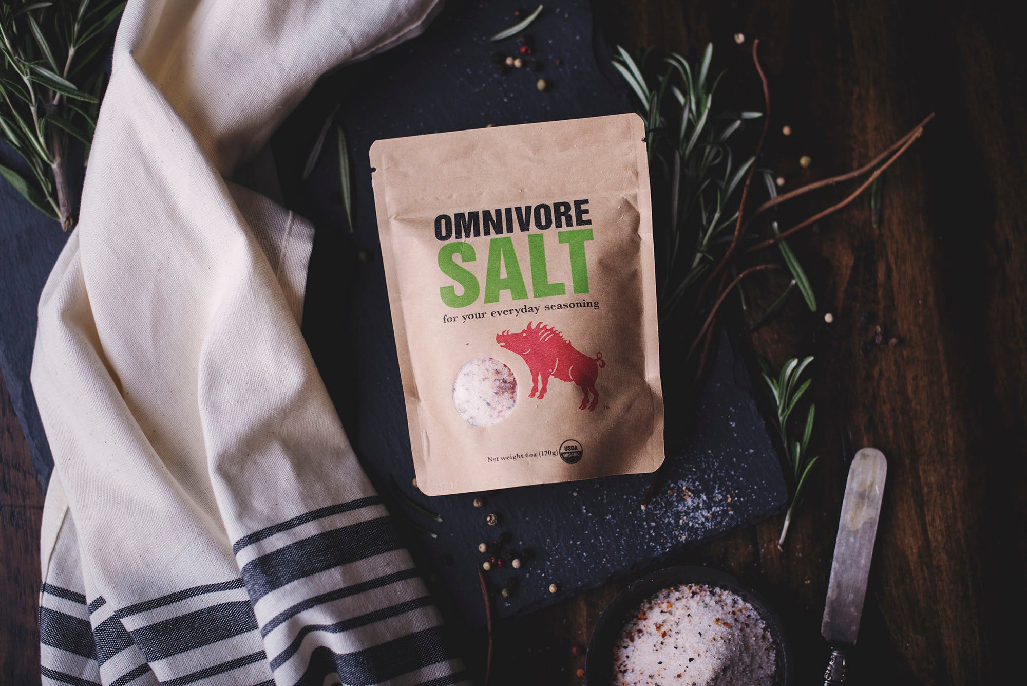 <a href='http://www.omnivore.us/products/omnivoresalt' target='_blank'><b>Omnivore Classic Seasoning Salt -</b></a><br> Omnivore Salt is a delightful blend of organic spices and natural sea salt, harvested from the salt beds off the coast of Northern California. Just a pinch adds an umami taste to any recipe. A classic rub for grilling or roasting that also is a versatile cooking and finishing salt.