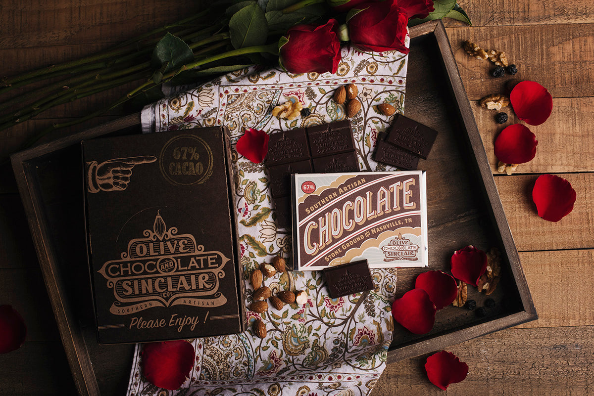 <a href='http://www.oliveandsinclair.com/' target='_blank'><b>Olive and Sinclair Chocolate -</b></a><br> Bold, brown and fudgy, this 67 percent cacao chocolate bar is made with single- origin beans from Ghana and pure flavor.  A Nashville-based chocolatier, this Southern artisan chocolate is based on intoxicating cocoa beans and brown sugar.
