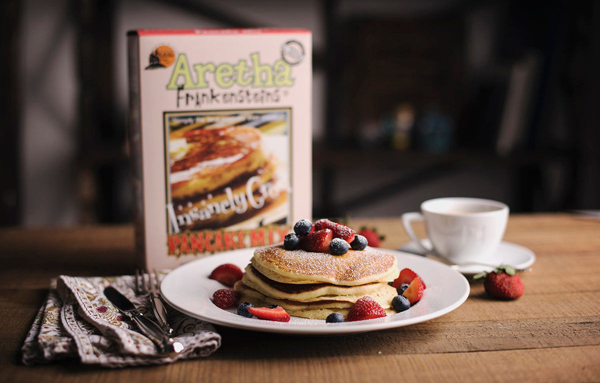 <a href='http://www.frankensteinmills.com/' target='_blank'><b>Aretha Frankenstein Insanely Great Pancake Mix </b></a><br> Rich, delicious and simply the best pancake mix available. Don't believe all of their fantastic reviews online? Try them for yourself and you'll be a believer!