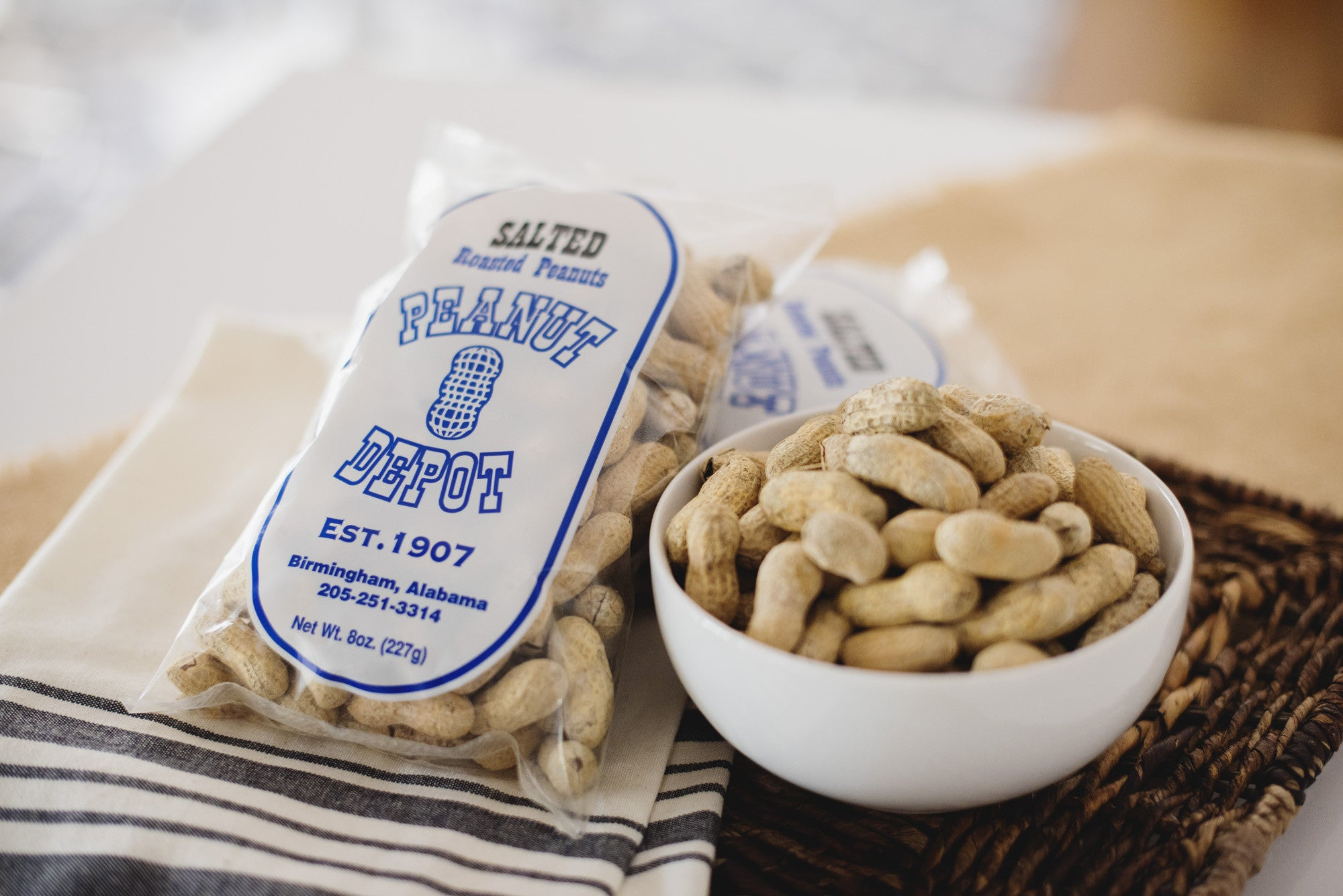 <a href='http://www.peanutdepot.com/store' target='_blank'><b>The Peanut Depot Salted Peanuts</b></a><br> Using antique roasters, and the time honored method of not adding oils or preservatives, the Peanut Depot has been roasting tasty peanuts for over 100 years.